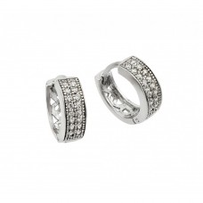 Wholesale Sterling Silver 925 Rhodium Plated Clear CZ Huggie Earrings - STE00898