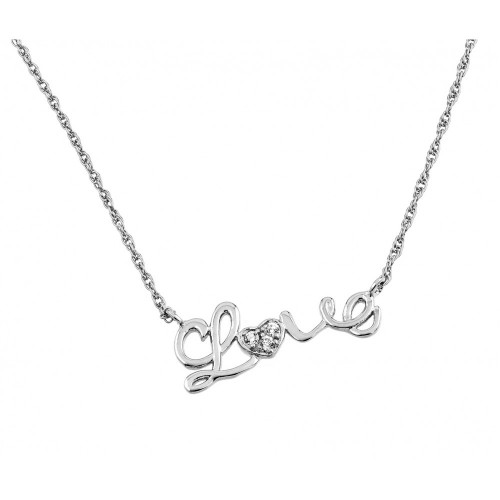 Wholesale Sterling Silver 925 Rhodium Plated Clear CZ Love Pendant Necklace - STP01384RH