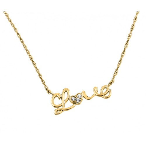 Wholesale Sterling Silver 925 Gold Plated Clear CZ Love Pendant Necklace - STP01384GP