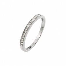 Wholesale Sterling Silver 925 Rhodium Plated Small Round CZ Band Ring - STR00938