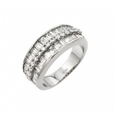 Wholesale Sterling Silver 925 Rhodium Plated Clear Baguette CZ Channel Ring - STR00956
