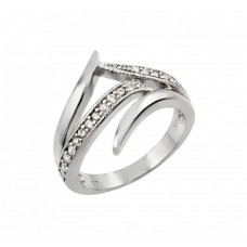 Wholesale Sterling Silver 925 Rhodium Plated Clear CZ Intersecting Line Ring - STR00971