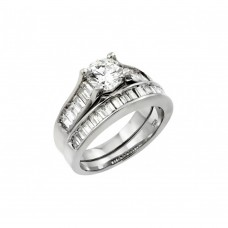 Wholesale Sterling Silver 925 Rhodium Plated Clear Baguette CZ Engagement Ring Pair Set - STR00978