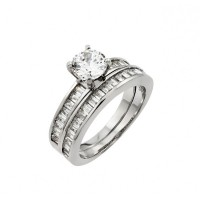 Wholesale Sterling Silver 925 Rhodium Plated Clear Baguette Round CZ Engagement Ring Pair Set - STR00984