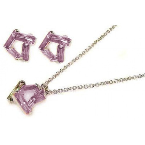 -Closeout- Wholesale Sterling Silver 925 Rhodium Plated Pink Baguette CZ Stud Earring and Necklace Set - STS00003-PNK