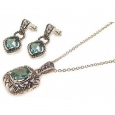Sterling Silver Oxidized Rhodium Plated Blue CZ Dangling Stud Earring and Necklace Set - STS00010B