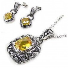 Sterling Silver Oxydized Rhodium Plated Yellow CZ Dangling Earring and Necklace Set - STS00010Y