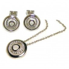 Wholesale Sterling Silver 925 Gold Rhodium Plated Round CZ Inlay Stud Earring and Necklace Set - STS00039