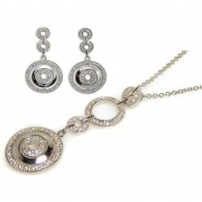 ***CLOSEOUT*** Wholesale Sterling Silver 925 Rhodium Plated Multiple Graduated Circle Round CZ Wire Dangling Earring and Necklace Set - STS00046