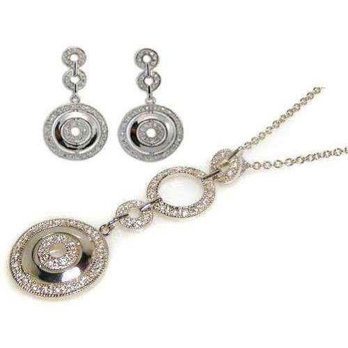 -CLOSEOUT- Wholesale Sterling Silver 925 Rhodium Plated Multiple Graduated Circle Round CZ Wire Dangling Earring and Necklace Set - STS00046