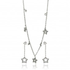 ***CLOSEOUT*** Wholesale Sterling Silver 925 Rhodium Plated Multiple Open Star Dangling CZ Stud Earring and Necklace Set - STS00091