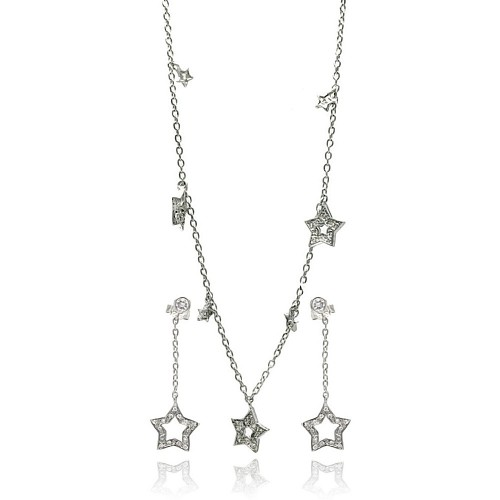 -CLOSEOUT- Wholesale Sterling Silver 925 Rhodium Plated Multiple Open Star Dangling CZ Stud Earring and Necklace Set - STS00091