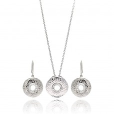 **Closeout** Wholesale Sterling Silver 925 Rhodium Plated Round CZ Hook Earring and Necklace Set - STS00101