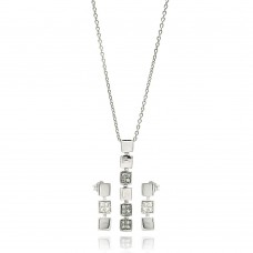 Wholesale Sterling Silver 925 Rhodium Plated Multiple Square CZ Dangling Earring and Necklace Set - STS00121