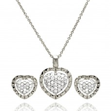 Wholesale Sterling Silver 925 Rhodium Plated Clear Heart CZ Stud Earring and Necklace Set - STS00175RH