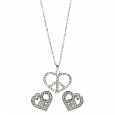 Wholesale Sterling Silver 925 Rhodium Plated Open Heart Peace Sign CZ Stud Earring and Necklace Set - STS00217