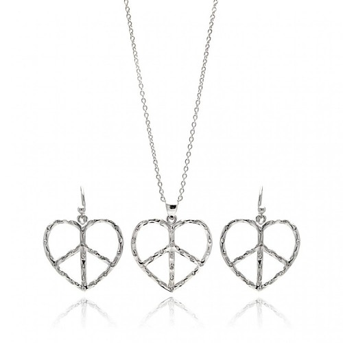Wholesale Sterling Silver 925 Rhodium Plated Open Peace Sign Heart CZ Dangling Hook Earring and Necklace Set - STS00218