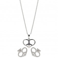 Wholesale Sterling Silver 925 Rhodium Plated Open Heart Peace Sign CZ Stud Earring and Necklace Set - STS00234