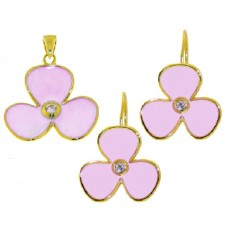 **Closeout** Wholesale Sterling Silver 925 Gold Plated Pink Flower Set - STS00244PNK