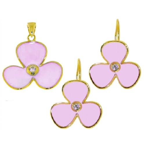 -Closeout- Wholesale Sterling Silver 925 Gold Plated Pink Flower Set - STS00244PNK