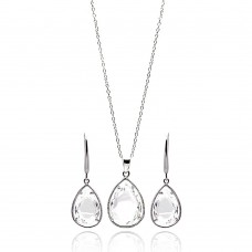 Wholesale Sterling Silver 925 Rhodium Plated Teardrop Clear CZ Dangling Set - STS00252CLR