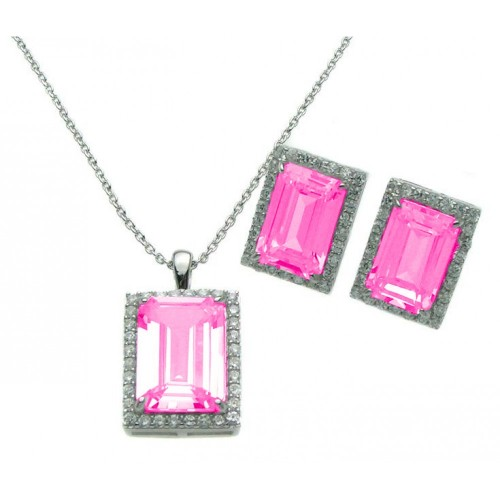 Wholesale Sterling Silver 925 Rhodium Plated Rectangle Pink CZ Stud Earring and Necklace Set - STS00275-PNK