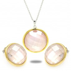 Sterling Silver Gold & Rhodium Plated Circle CZ Stud Earring & Necklace Set sts00336