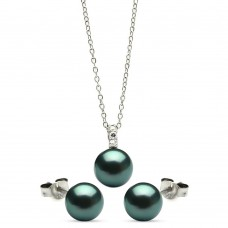Wholesale Sterling Silver 925 Rhodium Plated Dark Teal Stud Earring and Necklace Set - STS00447BLK