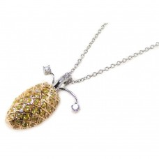 **Closeout** Wholesale Sterling Silver 925 Yellow CZ Gold and Rhodium Plated Pineapple Pendant Necklace - BGP00037YEL