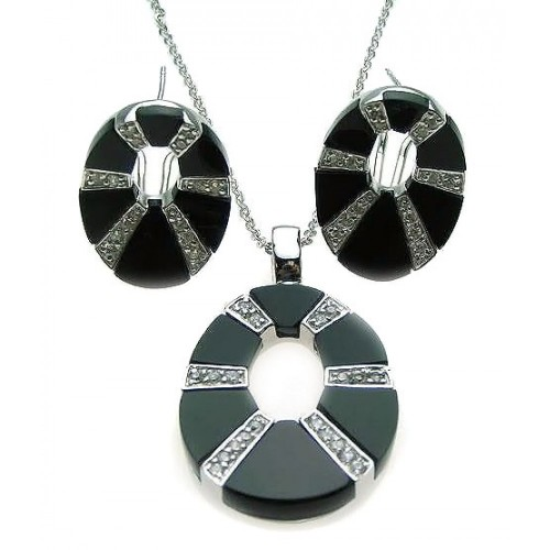 -Closeout- Wholesale Sterling Silver 925 Rhodium Plated Black Onyx Open Oval Round Clear CZ Stud Earring and Dangling Necklace Set - BGS00075