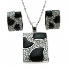 ***CLOSEOUT*** Wholesale Sterling Silver 925 Rhodium Plated Square Black Onyx Pave Set Clear CZ Stud Earring and Dangling Necklace Set - BGS00076
