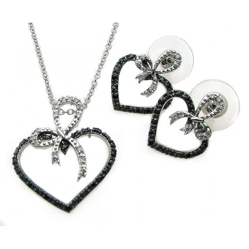 **Closeout** Wholesale Sterling Silver 925 Rhodium and Black Rhodium Plated Black and Clear Open Heart Ribbon CZ Stud Earring and Necklace Set - BGS00077