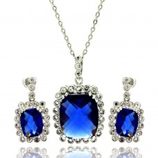 Wholesale Sterling Silver Rhodium Plated Blue and Clear Rectangular CZ Dangling Stud Earring and Necklace Set - BGS00165
