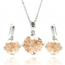 Wholesale Sterling Silver 925 Rhodium Plated Round Brown CZ Hook Earring and Necklace Set - BGS00285