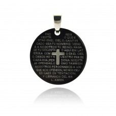 Wholesale Stainless Steel Black Rhodium Plated Prayer Round Dog Tag Pendant - SSP00222