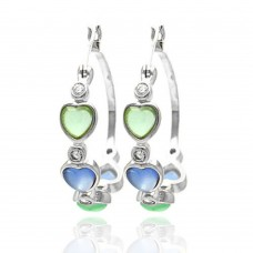 **Closeout** Wholesale Sterling Silver 925 Rhodium Plated Multicolor Heart CZ Round Hoop Earrings - STE00705