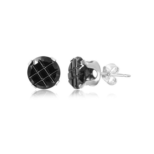 Wholesale Sterling Silver 925 Black Round CZ Invisible Cut Stud Earring - STUD RD BL IN