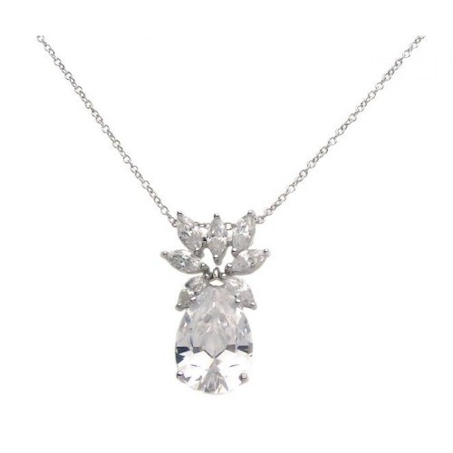 Wholesale Sterling Silver 925 Rhodium Plated Clear CZ and Clear Pear CZ Pendant Necklace - STP00941CLEAR