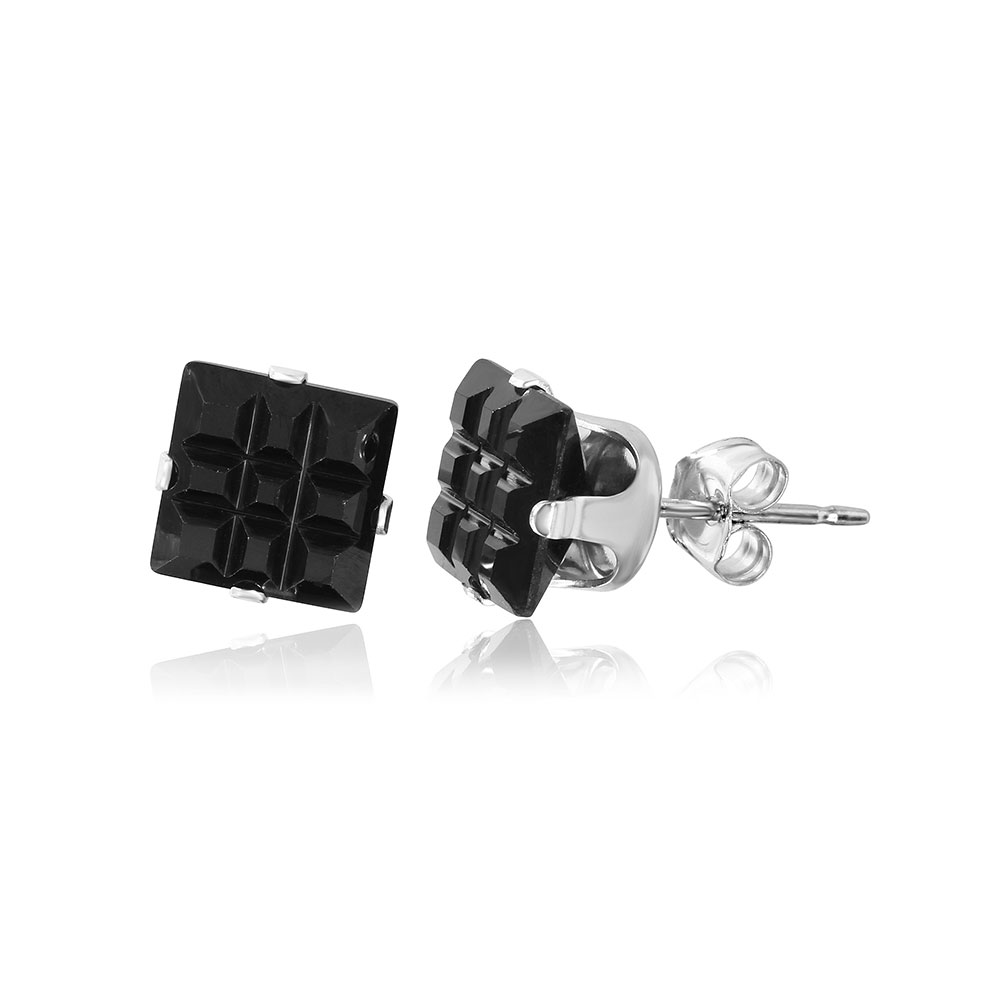 04fb1f5a8 Wholesale Sterling Silver 925 Black Square CZ Invisible Cut Stud Earring - STUD  SQ BL IN