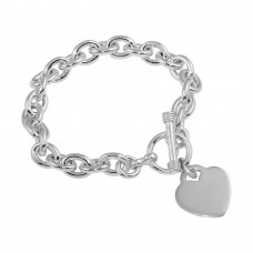 Wholesale Sterling Silver 925 High Polished Toggle Heart Link Bracelet - THB00001