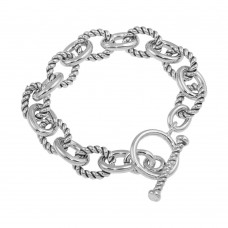 Sterling Silver High Polished Alternating Rope Link Bracelet - THB00002