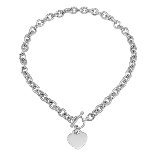 Wholesale Sterling Silver 925 High Polished Toggle Heart Link Necklace - THN00001