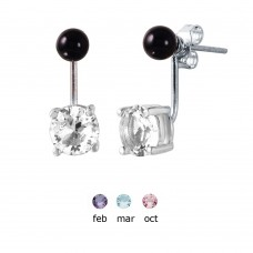 Sterling Silver Birthstone Mini Black Synthetic Pearl Stud Earrings - STE00999