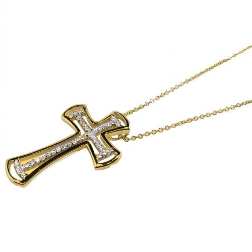 -Closeout- Wholesale Sterling Silver 925 Clear CZ Rhodium Plated Cross Pendant Necklace - BGP00095GP
