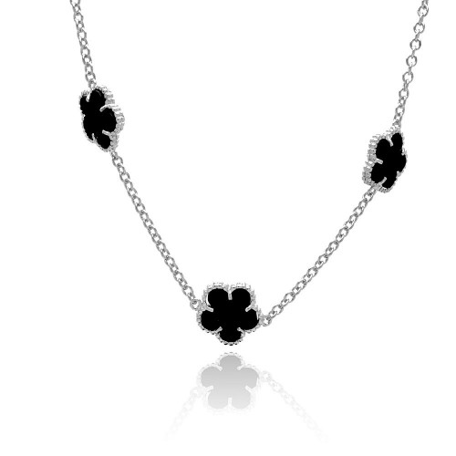 Wholesale Sterling Silver 925 Rhodium Plated Flower Black Onyx Necklace - BGP00454