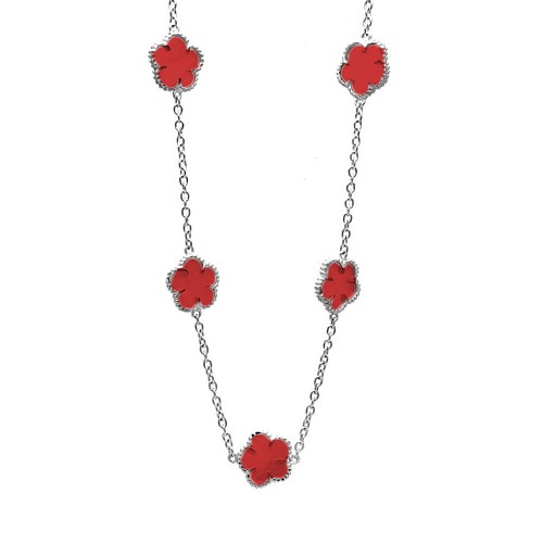Wholesale Sterling Silver 925 Rhodium Plated Flower Red Enamel Necklace - BGP00458