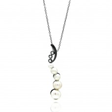 Sterling Silver Black Rhodium Plated Fresh Water Pearl Pendant Necklace - BGP00695