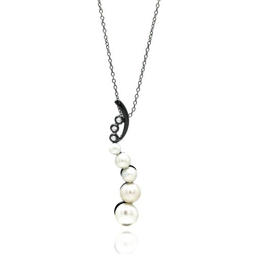 Wholesale Sterling Silver 925 Black Rhodium Plated Fresh Water Pearl Pendant Necklace - BGP00695