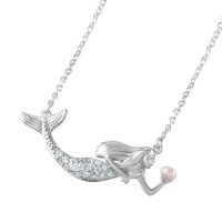 Wholesale Sterling Silver 925 Rhodium Plated Clear CZ and Pearl Mermaid Necklace - BGP01046