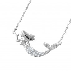 Wholesale Sterling Silver 925 Rhodium Plated Clear CZ Mermaid Necklace - BGP01047